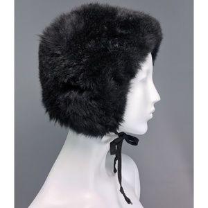 Vintage Black Shearling Shearling Hat